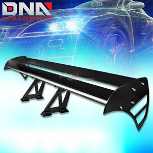 Gt Style 55 Light Powder Coated Trunk Double Deck Racing Spoiler Wing Jdm Black