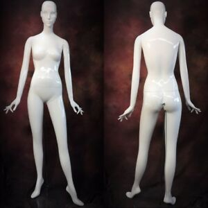 Patina V Mannequin White Gloss Full Size Female With Face Head Modern Abstract