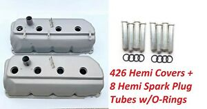 Hemi Valve Covers 426 With Spark Plug Tubes 1966 1969 Primed Ready For Paint New