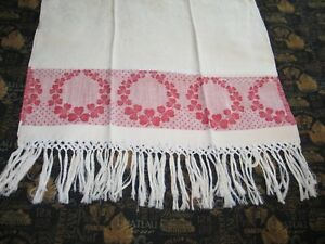 Antique Show Towel White Damask With Turkey Red Borders Shamrocks 3 Leaf Clover