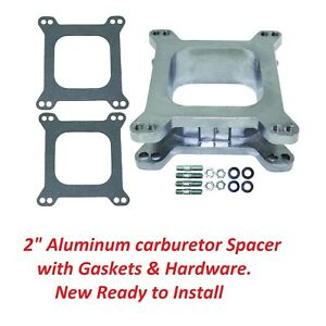 2 Aluminum Open 4 Barrel Square Flange Carb Carburetor Spacer W Gaskets Holley