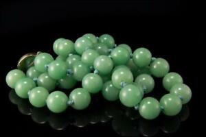 Old Chinese Green Jade Beads Silver Necklace A20415