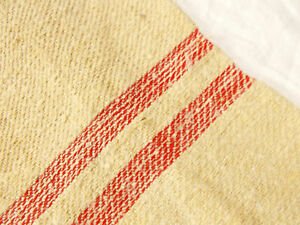 Perfect Vtg Antique Red Stripe European Hemp Linen Feed Sack Grain Bag 20x51