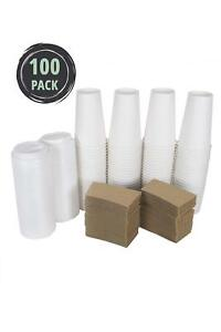 Cucinaprime 100 Pack Paper Coffee Hot Cups White Travel Lids And Sleeves 20oz