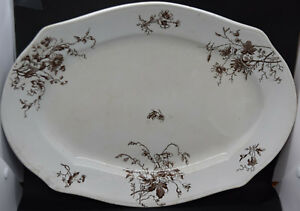 Smith Ford Jones Brown Transferware Large Platter French Pattern Antique 1889