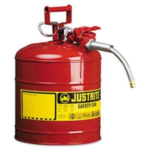 Justrite 7250120 Red Metal Safety Can Type Ll 5 Gallon Capacity With 5 8 X