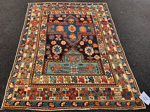 Antique And Very Fine Shirvan Kazak Rug 4x5ft Circa 1880