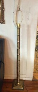 Vtg Mcm Brass Faux Bamboo Floor Lamp Mid Century Modern Retro Hollywood Regency