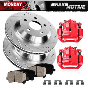 Rear Red Brake Calipers Rotors Pads For 2010 2011 2012 2013 20