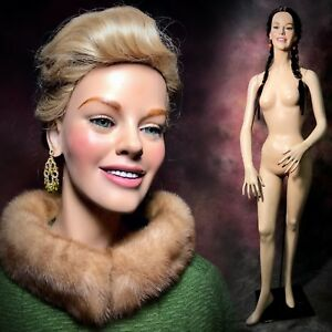 Decter Rare Female Mannequin Full Realistic Smiling Teeth Green Glass Eyes Vtg