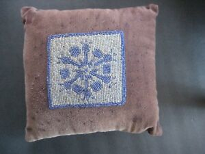 Antique Blue Silver Velvet Pin Cushion 8 X 8 X 3