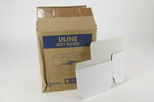 90 Gloss White Gift Boxes 7 X 3 X 3 New Unused Lot To Fold Glossy Cardboard