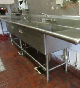 Commercial Stainless Steel long 4 compartment Sink 102 X 30 X 40 h 2 Drain