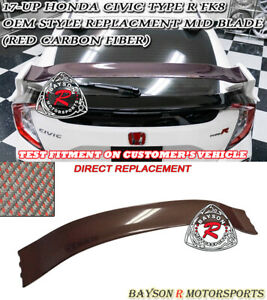 Oe Style Rear Mid Blade Spoiler Wing Red Carbon Fits 17 19 Civic 5dr Type R