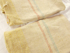 Set 2 Vtg Antique 3 Stripes Hemp Linen King Pillowcase Pair Feed Sack Grain Bag