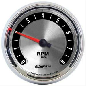 Autometer 1298 American Muscle Tachometer 0 8 000 3 3 8 Dia In dash Silver Face