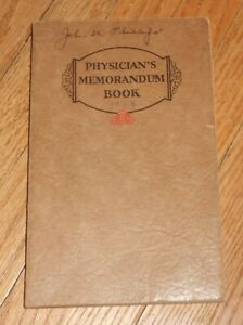 1929 Antique Medical Physician S Memorandum Book Manuscript Entires