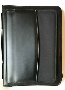 Daytimer Leather Binder Planner Organizer 10 X 8 Black Zipper Classic Notebook
