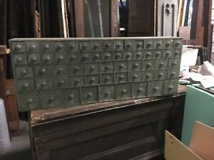 C1920 Custom Made Apothecary Style Cabinet Green 50 X 19 X 7 5 61 Draws