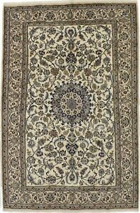 Classic Hand Knotted Nain Persian Fine Wool Rug Oriental Area Carpet 6 4x9 8