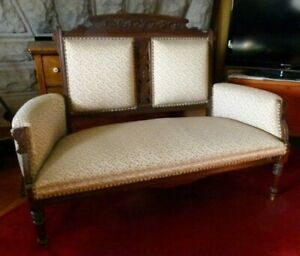 Antique Eastlake Victorian Settee Loveseat Parlor Sofa