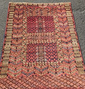 Circa 1900 Tribal Vintage Antique Turkaman Prayer Wool Rug Estate 3 6x4 7