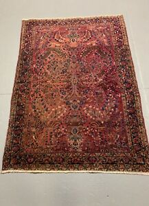 Circa 1920 Persian Antique Sarouk 3 4x4 8 Estate Rug 100 Wool Handmade