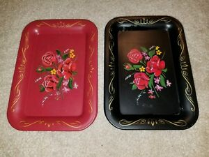 8 Vintage Mid Century Shabby Tole Rose Red Black Tip Trays