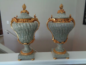 Museum Quality Masive Marble Urns Antique French Louis Xv