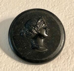 Antique Cameo Style Ladies Head With Elegant Headdress Black Horn Button