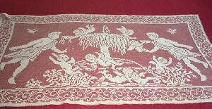 Antique Hand Made Filet Lace Runner With Figures Fountain Cherubs People
