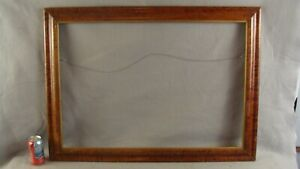 Antique Large 19c Birds Eye Maple Picture Frame W Gilt Trim