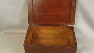 Antique Primitive American 18c Painted Pine Wooden Bible Box