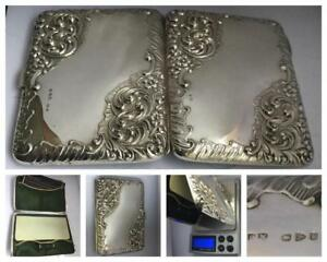 A Beautifully Engraved Victorian Silver Card Case Aide Memoire Hm Chester 1898
