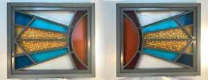 Pair Sunburst Art Deco Windows Made With Vintage Antique Stained Glass