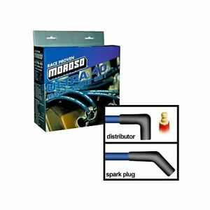 Moroso Spark Plug Wires Ultra 40 Spiral Core 8 65mm Blue 45 Deg Boots Ford 351w