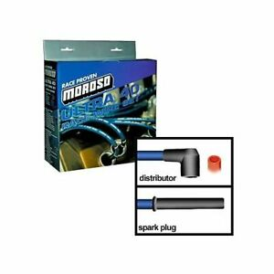 Moroso Spark Plug Wires Ultra 40 Spiral Core 8 65mm Blue Straight Boots Bbc V8