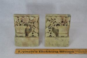 Bookends Stone Carved Hand Made Matched Pair Floral Urn Antique