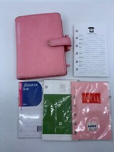 Filofax Pocket Organizer Insert Pink Pimlico Italian Leather Day Planner Wallet