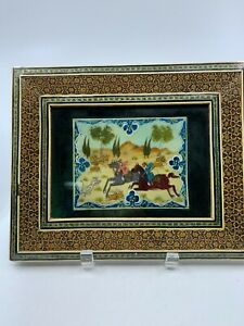 Persian Miniature Painting On Bone Khatam Marquetry Inlaid Mosaic Frame Hunting