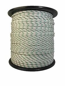 Premium Electric Braided Rope Horse Fence 1450lb Break Strength White Green