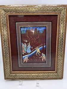 Persian Miniature Painting On Silk Khatam Marquetry Inlaid Mosaic Frame Farming