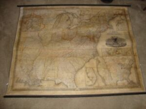 Original Huge 4 X 6 S Augustus Mitchell S Hand Colored U S Wall Map 1833