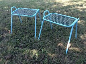 Vintage Stacking Side Tables Wrought Iron Wire Mesh Outdoor Patio Garden