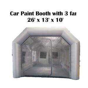 Inflatable Giant Spray Tent 26x13x10ft Paint Booth Cars Workstation Waterproof