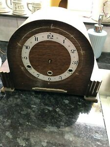 Vintage Wooden Anvil Mantle Clock Case With Movement For Parts Spares