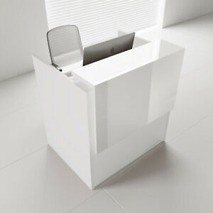 Mdd Tera 50 White Pastel Reception Desk With Lighting Panel