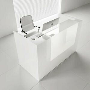 Mdd Tera 65 White Pastel Reception Desk With Lighting Panel