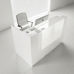 Mdd Tera 81 White Pastel Reception Desk With Lighting Panel