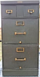 Vintage Industrial Stackable Metal File Cabinet Drawer Brass Green Steelcase